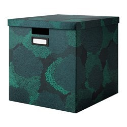"TJENA box with lid, black-blue Width: 12 ½ "" Depth: 13 ¾ "" Height: 12 ½ "" Width: 32 cm Depth: 35 cm Height: 32 cm"