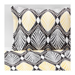 HÄSTFIBLA quilt cover and 2 pillowcases, grey, yellow