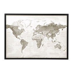 "BJÖRKSTA picture and frame, planet earth gray/white, black Width: 55 "" Height: 39 ¼ "" Width: 140 cm Height: 100 cm"