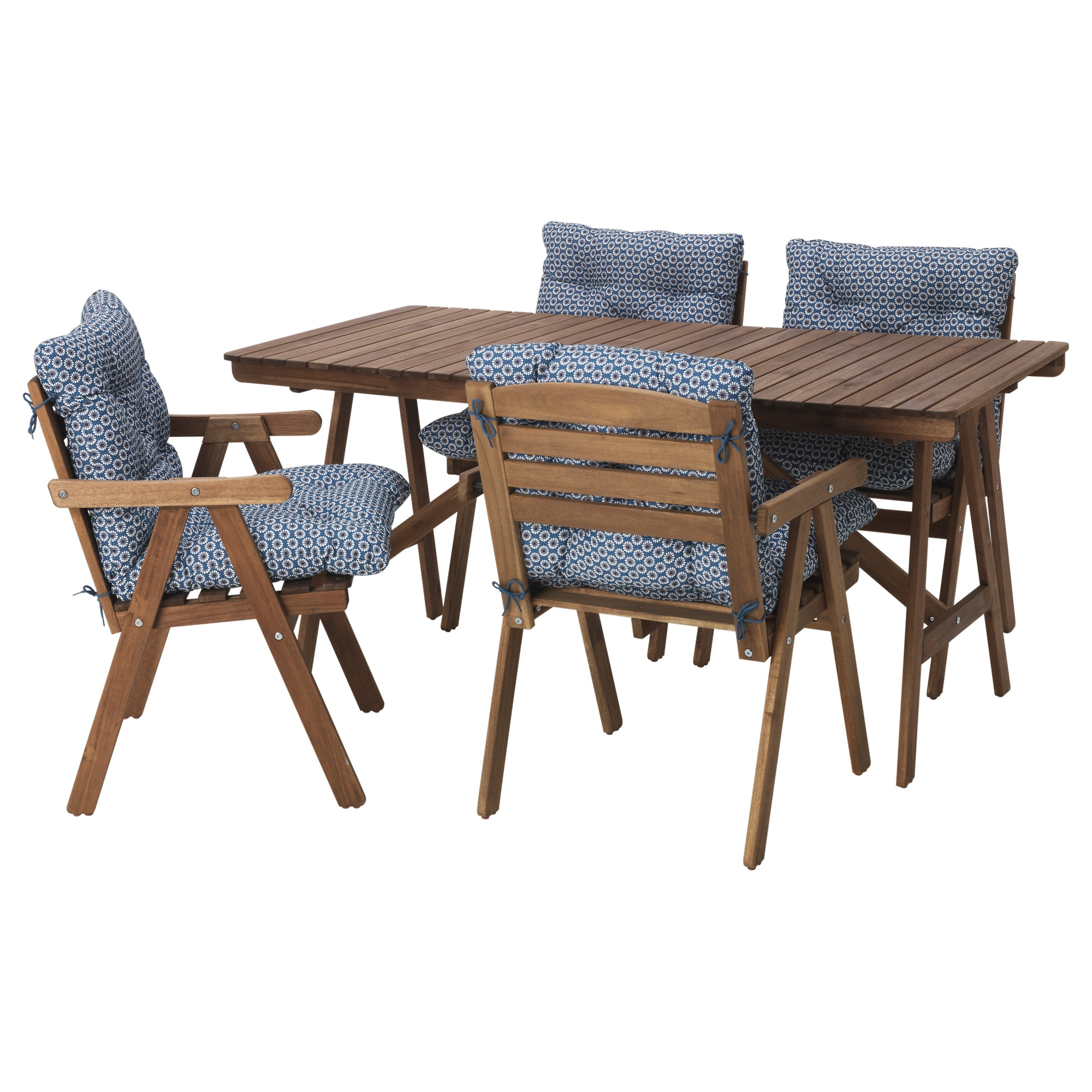 FALHOLMEN Table And 4 Armchairs, Outdoor, Gray Brown, Ytterön Blue