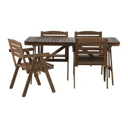 FALHOLMEN table and 4 armchairs, outdoor, light brown stained gray-brown