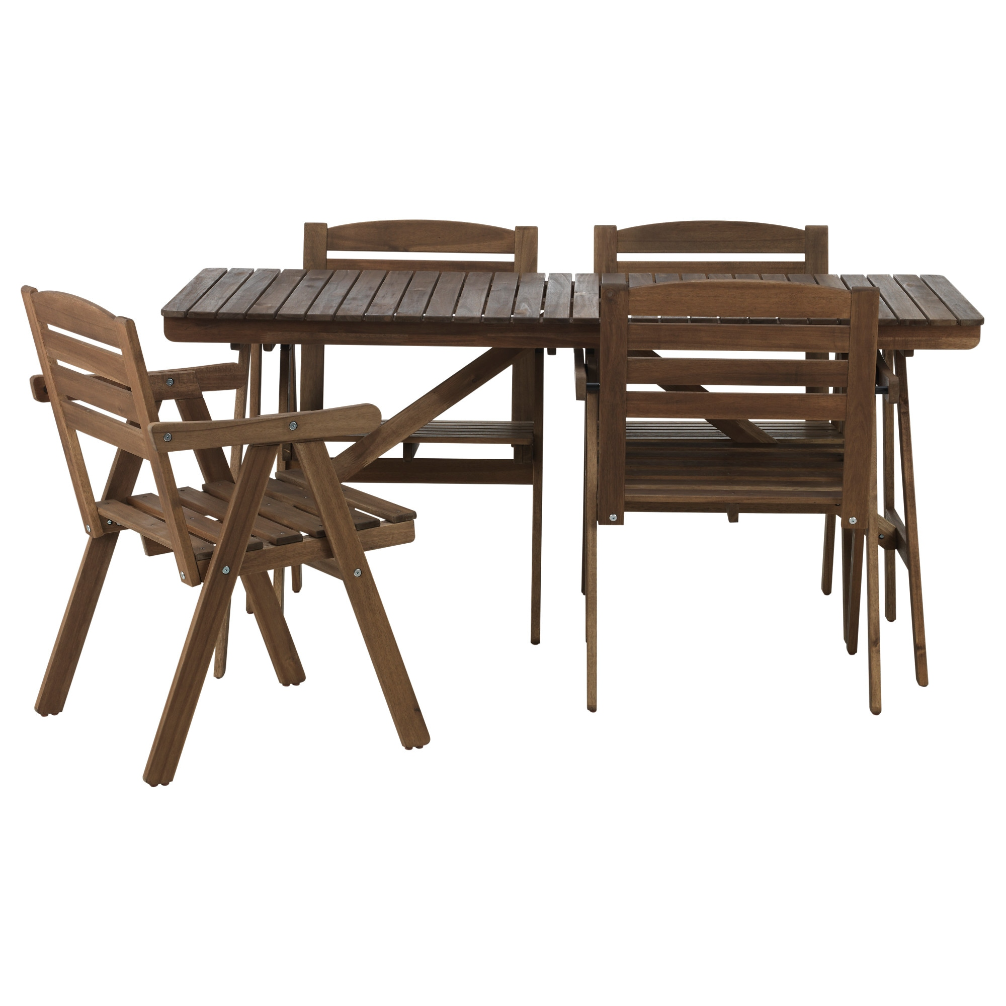 FALHOLMEN table+4 chairs w armrests, outdoor, grey-brown
