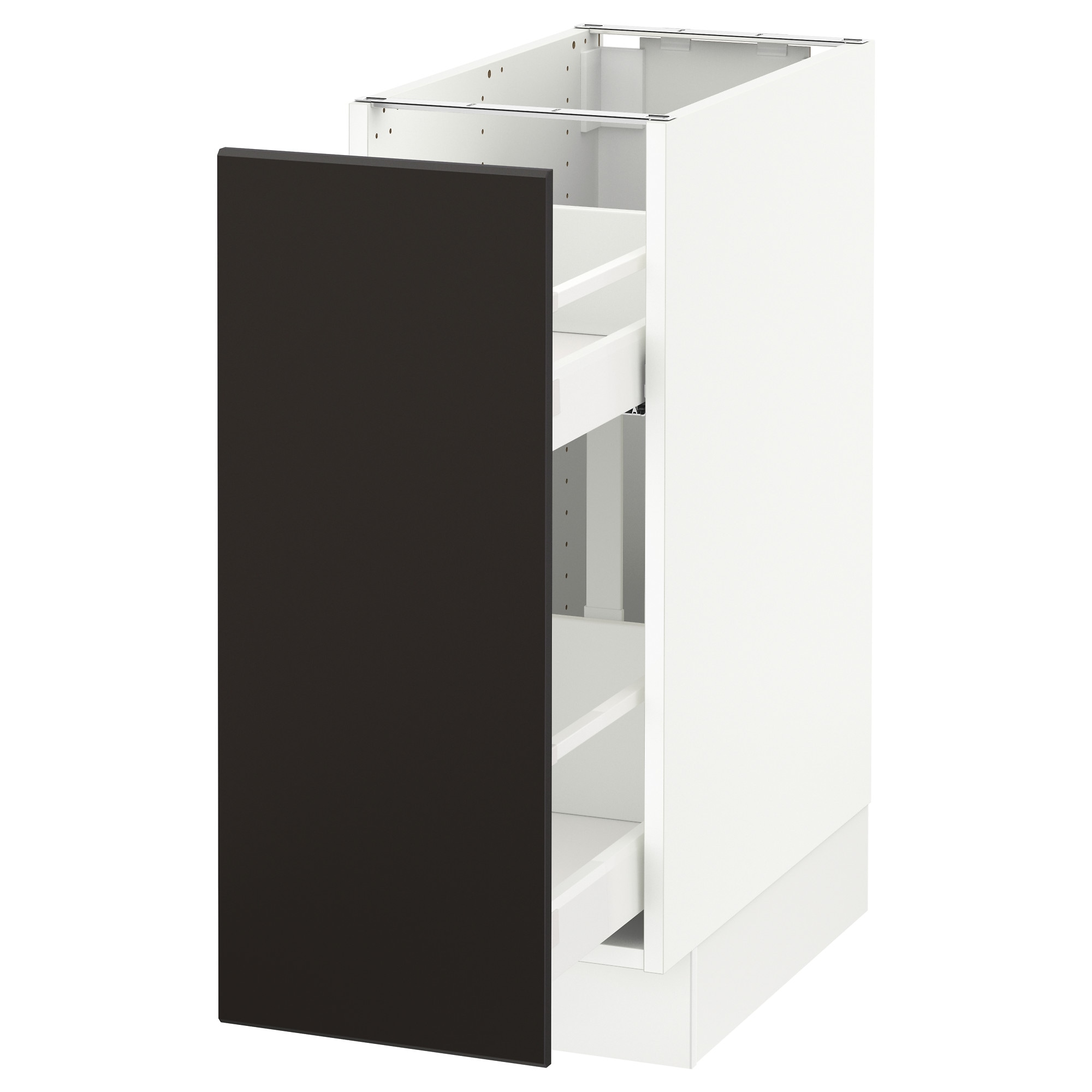 Narrow depth kitchen base cabinets - Sektion Base Cabinet W Pull Out Organizers White Kungsbacka Anthracite Width