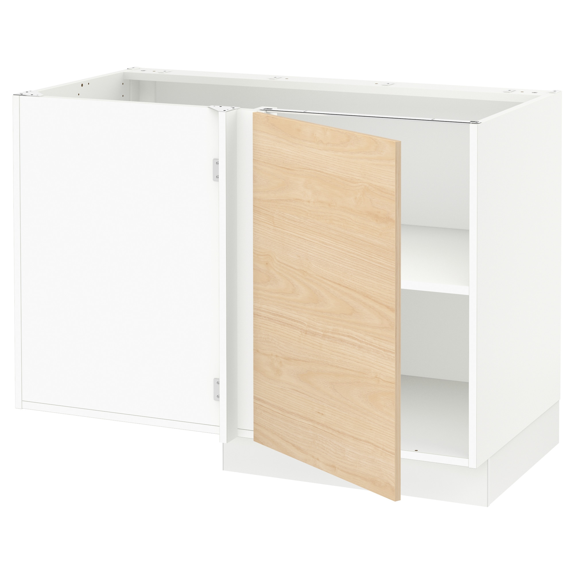 SEKTION Corner base cabinet with shelf - white, Grimslöv off-white ...