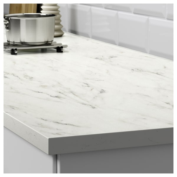 Ikea Kitchen Counters: White Marble Effect, Laminate