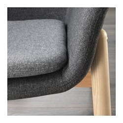 "VEDBO chair, Gunnared dark gray Height including back cushions: 29 1/2 "" Width: 28 3/4 "" Depth: 25 5/8 "" Height including back cushions: 75 cm Width: 73 cm Depth: 65 cm"