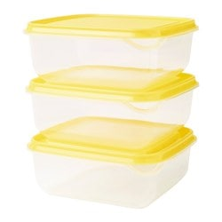 PRUTA food container, transparent, yellow Length: 14 cm Width: 14 cm Height: 6 cm