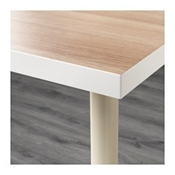 LINNMON / ADILS Table, White White Stained Oak Effect, Beige