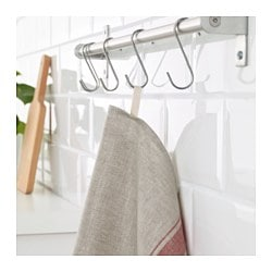 VARDAGEN dish towel, beige, red