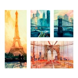 "GRÖNBY picture, set of 4, City icons Width: 36 ¼ "" Height: 30 ¾ "" Width: 92 cm Height: 78 cm"
