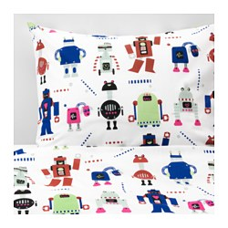 LATTJO duvet cover and pillowcase(s), small robots, multicolor