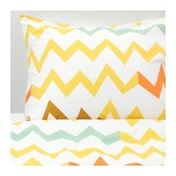 STILLSAMT, Duvet cover and pillowcase(s), yellow, multicolor