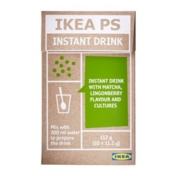 IKEA PS instant beverage, matcha, lingonberry 10 piece Net weight: 4.0 oz Net weight: 112 g