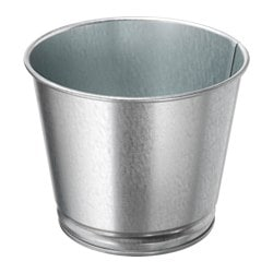 "BINTJE plant pot, galvanized Height: 4 "" Outside diameter: 4 ¾ "" Max. diameter inner pot: 4 ¼ "" Height: 10 cm Outside diameter: 12 cm Max. diameter inner pot: 10.5 cm"