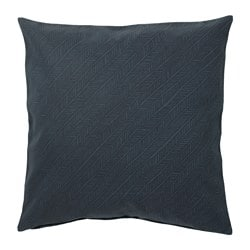 YPPERLIG cushion cover, dark blue, stripe