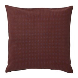 YPPERLIG cushion cover, dark red, dotted