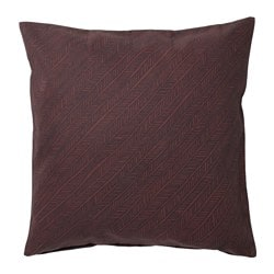 YPPERLIG cushion cover, dark red, stripe