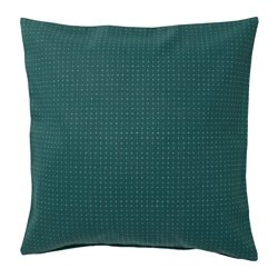 YPPERLIG, Cushion cover, green, dotted