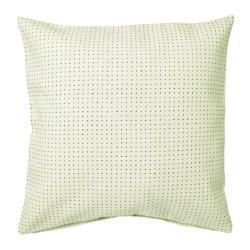 YPPERLIG, Cushion cover, light green, dotted