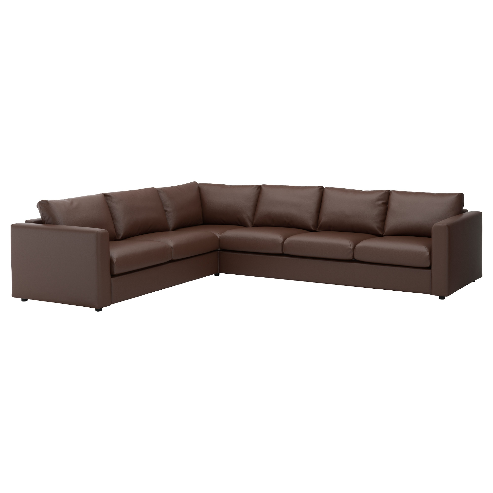 VIMLE sectional, 5-seat corner, Farsta dark brown Height including back  cushions: