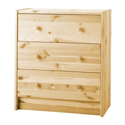 RAST chest of 3 drawers, pine Width: 62 cm Depth: 30 cm Height: 70 cm