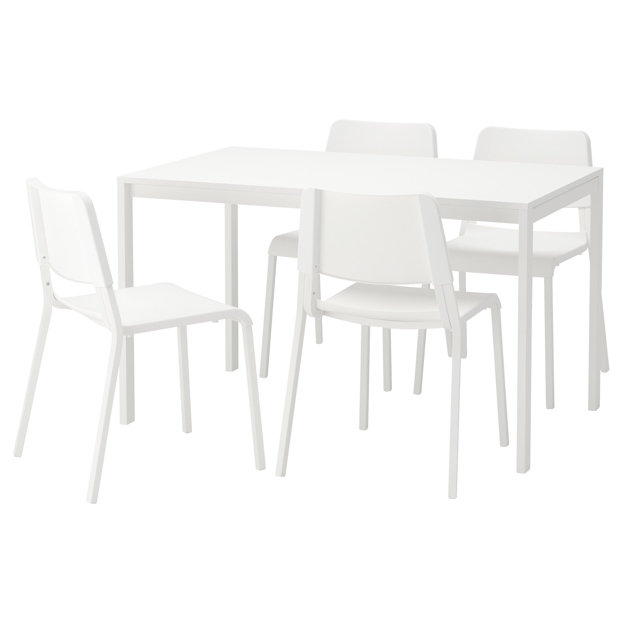MELLTORP / TEODORES table and 4 chairs, white Length: 49 1/4