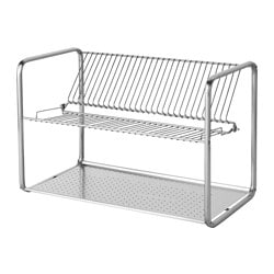 ORDNING dish drainer, stainless steel Length: 50 cm Width: 27 cm Height: 36 cm