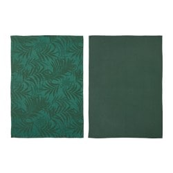 VILDKAPRIFOL tea towel, green leaves Length: 70 cm Width: 50 cm Package quantity: 2 pack