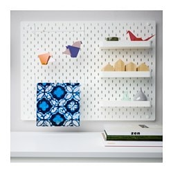 SKÅDIS pegboard combination, white Width: 76 cm Depth: 12 cm Height: 56 cm