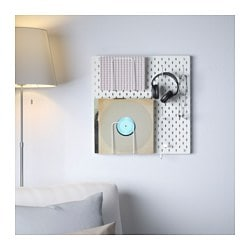 SKÅDIS pegboard combination, white Width: 56 cm Depth: 12 cm Height: 56 cm