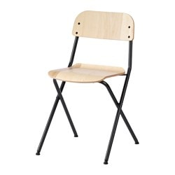 VÄSSAD folding chair, dark grey, ash veneer Tested for: 100 kg Width: 34 cm Depth: 40 cm