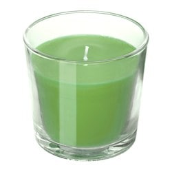 SINNLIG, Scented candle in glass, Apple and pear, green