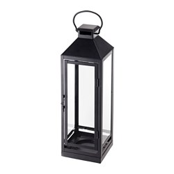 LAGRAD, Lantern for candle, indoor/outdoor, black