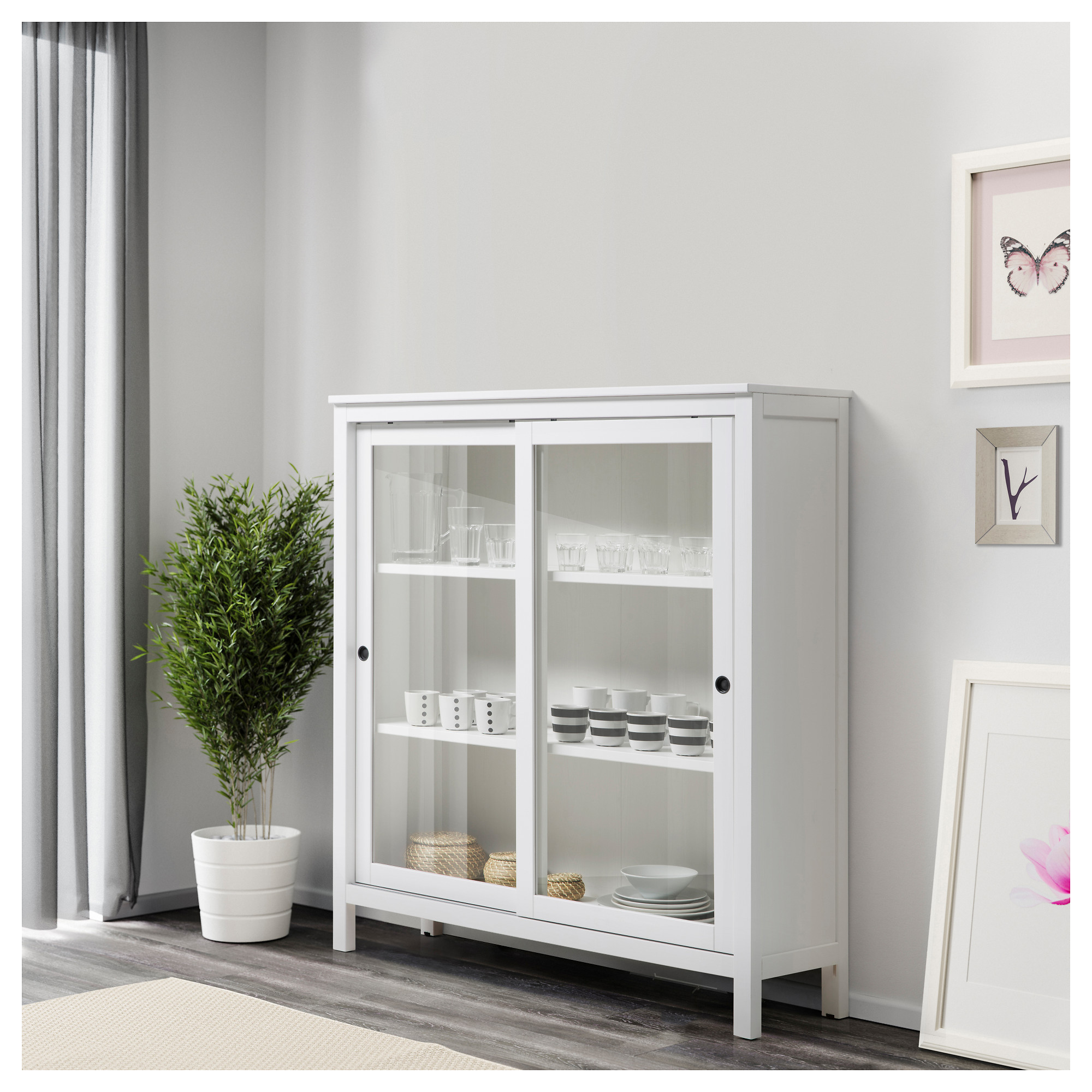 Hemnes glass door cabinet white stain ikea