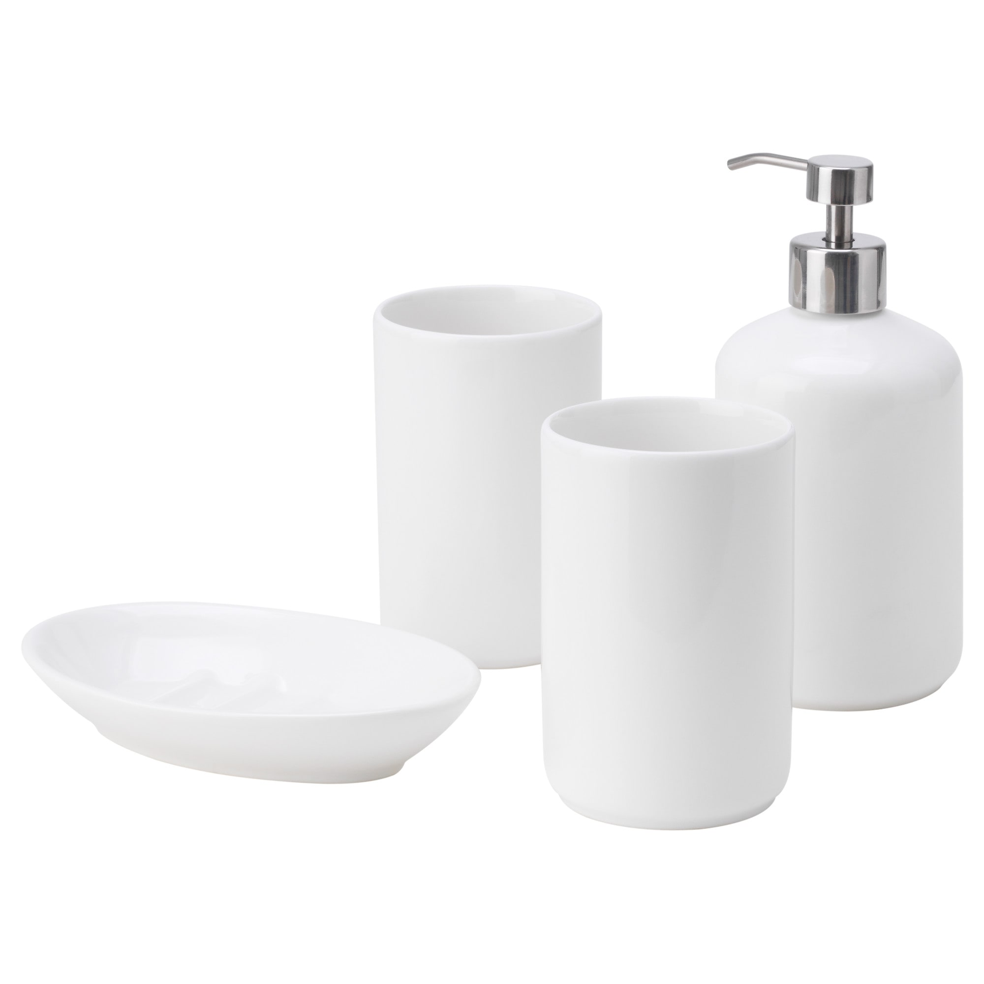 Nautical bathroom accessories uk - Boasj 4 Piece Bathroom Set White