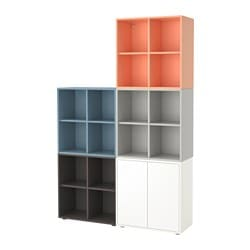 "EKET storage combination with feet, multicolor 2 Length: 27 ½ "" Width: 55 "" Depth: 13 ¾ "" Length: 70 cm Width: 140 cm Depth: 35 cm"