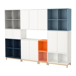 "EKET storage combination with legs, multicolor Length: 27 ½ "" Width: 96 ½ "" Depth: 13 ¾ "" Length: 70 cm Width: 245 cm Depth: 35 cm"