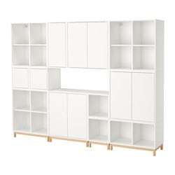 "EKET storage combination with legs, white Length: 27 ½ "" Width: 96 ½ "" Depth: 13 ¾ "" Length: 70 cm Width: 245 cm Depth: 35 cm"