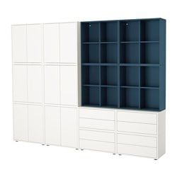 EKET cabinet combination with feet, white, dark blue