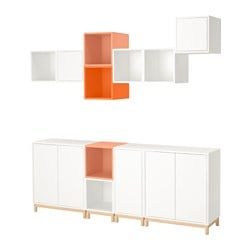 EKET cabinet combination with legs, white light orange, orange Length: 70 cm Width: 210 cm Depth: 35 cm