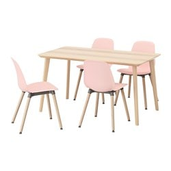 "LISABO /  LEIFARNE table and 4 chairs, ash veneer, pink Table length: 55 1/8 "" Width: 30 3/4 "" Height: 29 1/8 "" Table length: 140 cm Width: 78 cm Height: 74 cm"