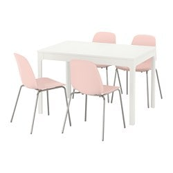 EKEDALEN / LEIFARNE, Table and 4 chairs, white, pink