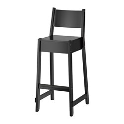 NORRÅKER bar stool with backrest, black