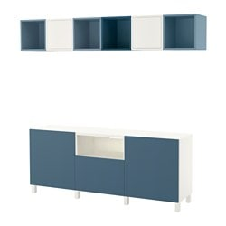 BESTÅ / EKET TV storage combination, white light blue, dark blue