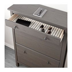 Hemnes Shoe Cabinet With 2 Compartments Gray Dark Stained 35x50