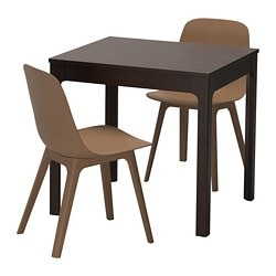 "EKEDALEN /  ODGER table and 2 chairs, dark brown, brown Table min. length: 31 1/2 "" Table max. length: 47 1/4 "" Table min. length: 80 cm Table max. length: 120 cm"