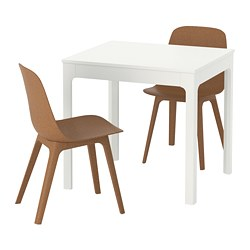 EKEDALEN / ODGER, Table and 2 chairs, white, brown
