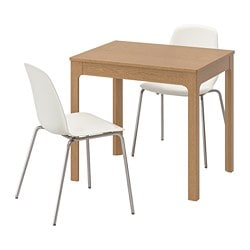 EKEDALEN /  LEIFARNE table and 2 chairs, oak, white