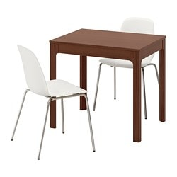 EKEDALEN / LEIFARNE, Table and 2 chairs, brown, white