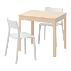EKEDALEN /  JANINGE table and 2 chairs, birch, white
